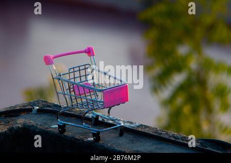 Jaipur India, ca. 2020 - Foto eines Spielzeug-Gepäckwagens aus Metall und Kunststoff. Der Rollwagen hat Punk-Farbe mit nicht fokussierten Bäumen im b - Stockfoto