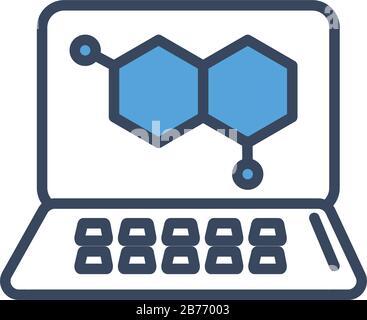 Medizinisches DNA-Symbol in Laptop-Halblinie und Farbstil - Stockfoto