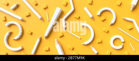 Weiße Bleistifte auf gelbem Hintergrund mit Kopierbereich isoliert. Kreativer Hintergrund für das Design von Schulungs- oder Geschäftskonzepts. 3D-Abbildung. - Stockfoto