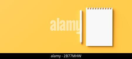 Weißer Bleistift und Notizbuch isoliert auf gelbem Hintergrund mit Kopierbereich. Kreativer Hintergrund für das Design von Schulungs- oder Geschäftskonzepts. 3D-Abbildung - Stockfoto