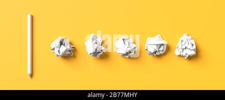 Weißer Bleistift auf gelbem Hintergrund mit Kopierbereich isoliert. Kreativer Hintergrund für das Design von Schulungs- oder Geschäftskonzepts. 3D-Abbildung. - Stockfoto