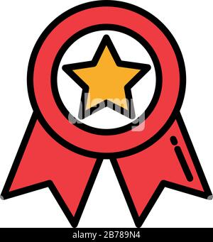 Abzeichen mit rotem Band auf weißem Hintergrund Vektorgrafiken - Stockfoto