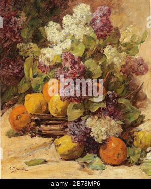 Georges Jeannin - Stillleben mit einem Fliedertrauß und Zitronenbesen. - Stockfoto