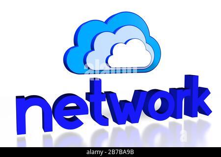 3D Cloud Computing Illustration - Netzwerkkonzept - Stockfoto