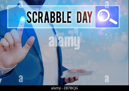 Wort schreiben Text Scrabble Tag. Business Foto präsentiert ein Tag das beliebte Brettspiel 1938 erstellt zu feiern. - Stockfoto