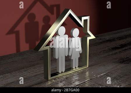 Hausform, Paar - Immobilien-/Versicherungskonzept - 3D-Rendering Stockfoto