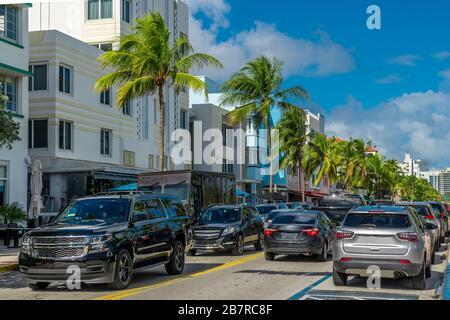 Ocean Drive in Miami Beach, Florida - Stockfoto