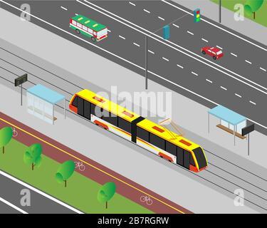 Straße der Stadt in isometrischer Ansicht. Straßenverkehr von Kraftfahrzeugen und Straßenbahnen. Vektorgrafiken.
