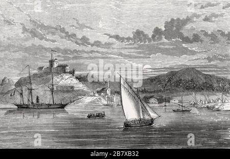 Île de Porquerolles, eine Insel in der Îles d'Hyères, Var, Provence-Côte d'Azur, Frankreich, im Jahr 1857 - Stockfoto