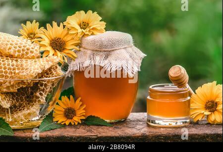 Honigbecher und Holzstab auf dem Tisch vor grünem unscharfen natürlichen Hintergrund Honigbecher und Wabe auf Holztisch im Freien. - Stockfoto