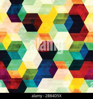 Klassisches Rhombus-nahtloses Muster mit Grunge-Effekt - Stockfoto