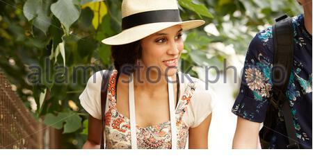 Ausländische Reisende besuchen Tanoya - Stockfoto