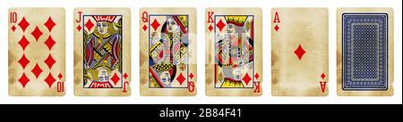 Diamonds Suit Vintage Playing Cards, Set include Ace, King, Queen, Jack und Ten - isoliert auf Weiß. - Stockfoto