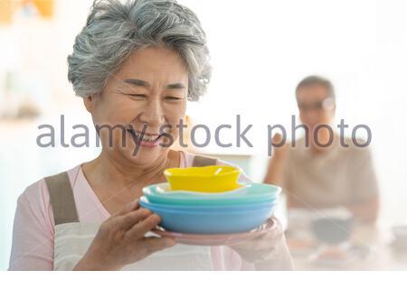 Lifestyle Senioren Essen - Stockfoto