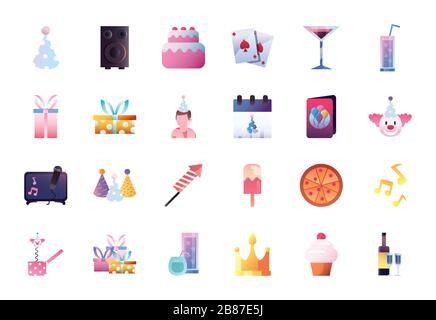 Gradient Style Icon Set Design, Party Celebration Event Happy Birthday Urlaub Überraschungsjubiläum und dekoratives Thema Vector Illustration - Stockfoto