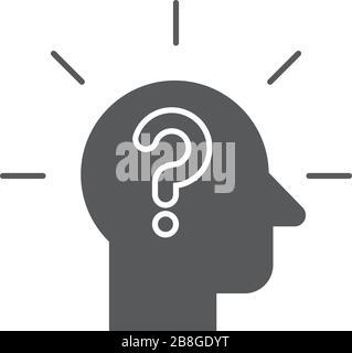 Kopf mit Vektorsymbol für Fragezeichen isoliert auf weißem Hintergrund - Stockfoto