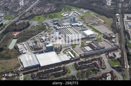 Luftansicht von Unilever Port Sunlight, Wirral, Merseyside - Stockfoto