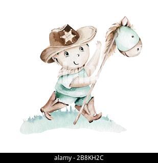 Westlicher Babyjunge Cowboy in Cowboyhut auf Heuballen sitzend Illustration. Cartoon Sheriff ans American Tribes teepee Design. Geburtstag des wilden Westens - Stockfoto
