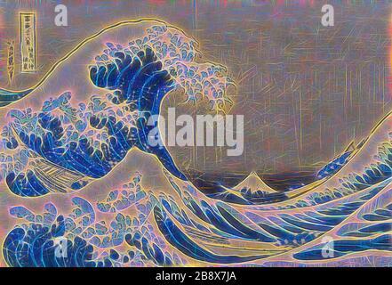 Unter der Welle vor Kanagawa (Kanagawa oki nami ura), auch bekannt als Great Wave, aus der Serie Thirty-Six Views of Mount Fuji (Fugaku sanjurokkei), 1830/33, Katsushika Hokusai ?? ??, Japanisch, 1760-1849, Japan, Farbholzholzmuster, oban, 25,4 x 37,6 cm (10 x 14 3/4 Zoll), von Gibon neu vorgestellt, Design von warmfröhlichem Leuchten von Helligkeit und Lichtstrahlen. Klassische Kunst mit moderner Note neu erfunden. Fotografie, inspiriert vom Futurismus, die dynamische Energie moderner Technologie, Bewegung, Geschwindigkeit und Kultur revolutionieren. - Stockfoto