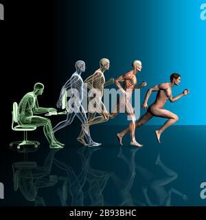 3D-Abbildung zeigt sitzenden Mann und laufenden Mann mit Muskeln und Skelett - Stockfoto