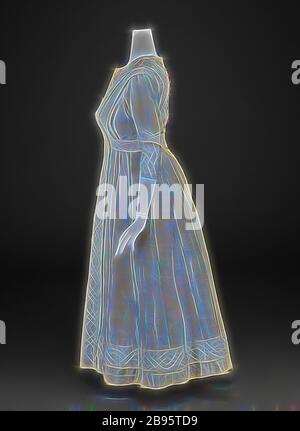 Kleid, unbekannt, 1910-15, Seide, Mohair, Geflecht, Spitze, Mittelrücken 48 Zoll, Mittelvorderseite 46-1/2 Zoll, Büste 32 Zoll, Taille 27 Zoll, Hüften 32 Zoll, Ärmellänge 16 Zoll, Schultern 16 Zoll, amerikanische, Textil- und Modekunst, von Gibon reimaginiert, Design von warmem fröhlichem Leuchten von Helligkeit und Lichtstrahlen. Klassische Kunst mit moderner Note neu erfunden. Fotografie, inspiriert vom Futurismus, die dynamische Energie moderner Technologie, Bewegung, Geschwindigkeit und Kultur revolutionieren. - Stockfoto