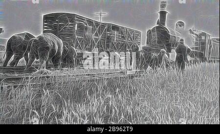 Negativ - Henty, Victoria, vor 1930, zwei Elefanten schieben einen Güterwagen zurück auf die Strecke, nachdem ein Zirkuszug an der Henty Station entgleist. Eine Gruppe von Menschen beobachten die beiden Elefanten. Die DD-Klasse Dampflokomotive Nr. 794 wartet auf einer angrenzenden Gleise. Nr. 794 wurde 1914 in den Werkstätten der Victorian Railways Newport gebaut (gebaut als DD 948, umklassifiziert und umnummeriert als Dd537, Dd794, D2 794 und dann D3 630), neu gestaltet von Gibon, Design von warmen fröhlichen Leuchten von Helligkeit und Lichtstrahlen Ausstrahlung. Klassische Kunst neu erfunden mit einem modernen Twist. Fotografie inspiriert von Futurismus, umarmt dy - Stockfoto