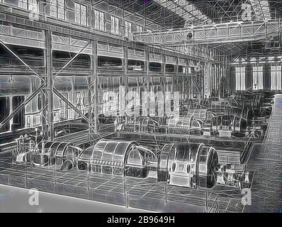Negativ - Newport, Victoria, vor 1918, im Turbinenraum der Newport Power Station., von Gibon neu vorgestellt, Design von warmem, fröhlichem Leuchten von Helligkeit und Lichtstrahlen. Klassische Kunst mit moderner Note neu erfunden. Fotografie, inspiriert vom Futurismus, die dynamische Energie moderner Technologie, Bewegung, Geschwindigkeit und Kultur revolutionieren. - Stockfoto