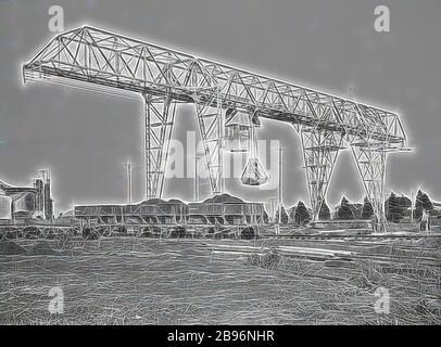 Negativ - Newport, Victoria, vor 1918, mit einem Fahrkran über dem Kopf, um Kohle aus Eisenbahnfahrzeugen im Newport Power House zu entladen., von Gibon neu vorgestellt, Design von warmem, fröhlichem Leuchten von Helligkeit und Lichtstrahlen. Klassische Kunst mit moderner Note neu erfunden. Fotografie, inspiriert vom Futurismus, die dynamische Energie moderner Technologie, Bewegung, Geschwindigkeit und Kultur revolutionieren. - Stockfoto