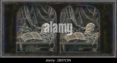 Vanitas/Stillleben mit Schädel, Open Book mit Brille und Hourglass/The Sands of Time, Thomas Richard Williams (Englisch, zwischen 1830-1871), 1850-1850, Stereo-Daguerreotyp, von Gibon neu vorgestellt, Design von warmem, fröhlichem Leuchten von Helligkeit und Lichtstrahlen. Klassische Kunst mit moderner Note neu erfunden. Fotografie, inspiriert vom Futurismus, die dynamische Energie moderner Technologie, Bewegung, Geschwindigkeit und Kultur revolutionieren. - Stockfoto