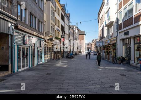 Leere Altstadt, Auswirkungen der Coronavirus-Pandemie in Deutschland, DŸsseldorf - Stockfoto