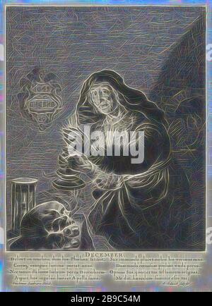 Dezember: Alte Frau bei Kerzenschein Dezember (Titel auf Objekt) Die zwölf Monate (Titel der Serie), eine alte Frau in einem Innenraum hält einen Leuchter mit einer Kerze in der Hand. Sie steht an einem Tisch mit einer Schädel und eine Sanduhr. Eine Ziege neben den Tisch. In einer Nische in der Wand eine Eule, auf der linken Seite an der Wand eine Tafel mit dem Datum 29. Dezember 1645. Unter der Darstellung eines lateinischen Text in zwei Spalten, alte Frau, die zwölf Monate (vor allem personifikationen), 'Mese in Generale' (Ripa) (allegorische oder symbolische Darstellung der Jahreszeiten und Monate), Leuchter, Dunkelheit, Albert Haelwegh (me - Stockfoto