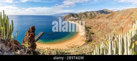 Kanarische Inseln Strand von Teneresitas Meer Reisen Panorama Atlantik Natur