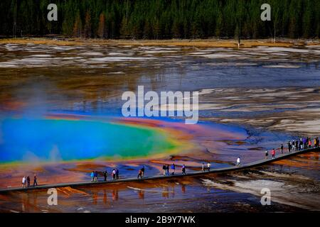 Grand Prismatic Spring, Yellowstone National Park mit Dampf - Stockfoto