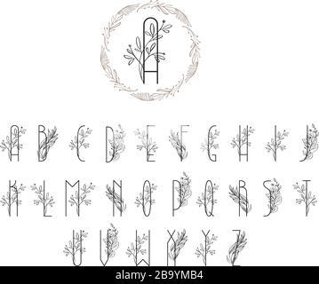 Logo mit Blumenmuster im Sommer oder Frühling. Logo mit floralem Vintage-Schriftzug in Großbuchstaben. Hochzeitseinladungsvorlage, elegante Briefe mit Baumzweig - Stockfoto