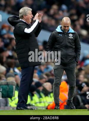 Manchester-City-Manager Pep Guardiola scheint auf der Touchline dejeteted zu sein