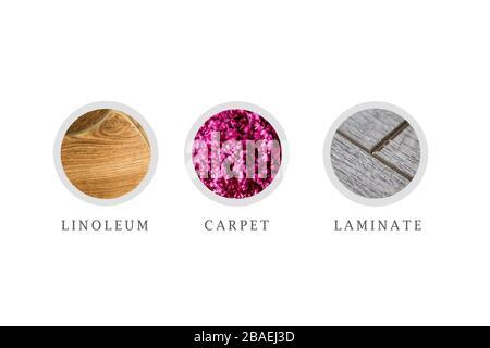 Teppich. Teppichmuster zum Auflegen auf den Boden im Raum. - Stockfoto