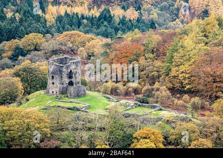 Blick auf das Schloss Dolbadarn in Llanberis - Stockfoto