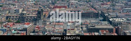 Luftaufnahme von Mexiko Stadtbild von Mirador Torre Latino - Stockfoto