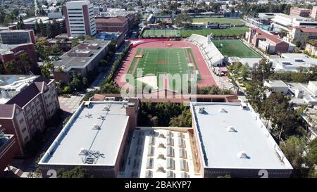 Los Angeles, Vereinigte Staaten. März 2020. Allgemeine Luftaufnahme von Cromwell Field und Loker Stadium auf dem Campus der University of Southern California. Foto über Credit: Newscom/Alamy Live News