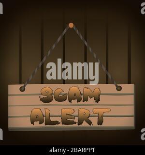 """Hinweis zur Meldung """"Scam Alert"""" wird geschrieben. Geschäftskonzept für unerwünschte E-Mails, die die Aussicht auf ein Schnäppchen Wood Plank Nagelstift Streicherbrett colorfu - Stockfoto"""