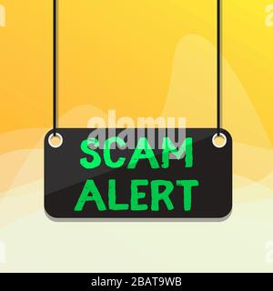 """Hinweis zur Meldung """"Scam Alert"""" wird geschrieben. Geschäftskonzept für unerwünschte E-Mails, bei denen die Aussicht auf eine farbige Hintergrundplanke des Bargain Boards als Anlage angegeben wird - Stockfoto"""