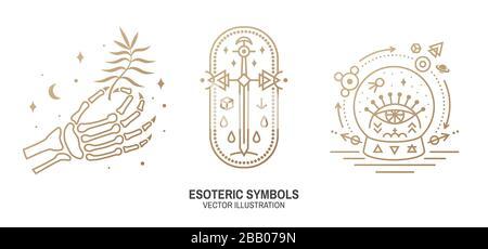 Esoterische Symbole. Vektor. Geometrische Plakette mit dünner Linie. Gliederungssymbol für Alchemie oder heilige Geometrie. Mystisches und magisches Design mit Knochenhand des menschlichen Skeletts, altem Schwert und Glaskugel und einem allsehenden Auge - Stockfoto