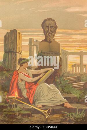 """Herodot [Herodot] war ein antiker, in Halikarnassos im Perserreich geborener, griechischer Historiker. Er ist dafür bekannt, dass er das Buch The Histories geschrieben hat, eine detaillierte Aufzeichnung seiner """"Anfrage"""" über die Ursprünge der Greco-Persischen Kriege. Er gilt weithin als der erste Autor, der historische Themen mit einer Methode systematischer Untersuchung behandelt hat, die er oft als """"Vater der Geschichte"""" aus La ciencia y sus Hombres bezeichnet wird: vidas de los sabios ilustres desde la antigüedad hasta el siglo XIX T. 1 [Wissenschaft und es ist Volk Vol 1] von Luis Figuier; traducción de la tercera - Stockfoto"""