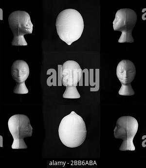 Collage von Mannequinköpfen auf schwarzem Hintergrund - Stockfoto
