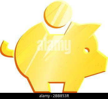 """Sparsymbol der goldenen Sparkassen. Bankenkonzept. Symbol """"Geld sparen"""". Zeichen des Wirtschaftswachstums. Bareinnahmen, Investitionen. Haushaltsbudget. Gewinngeld. Metallmoneybox-Vektor, isoliert auf weißem Hintergrund. - Stockfoto"""