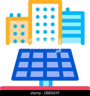 Bereitstellung von Solarpaneelen für Wohnbauten Symbol Vektor-Umriss-Abbildung - Stockfoto