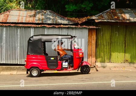 Kadugannawa, Sri Lanka - Februar 2014: Tuk-Tuk-Fahrer wartet auf Passagiere in seinem dreirädrigen roten Auto-Rikscha