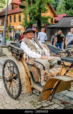 Ein Mann im traditionellen Kleid vor Ort, der Touristen in Zakopane, den Bergen der polnischen Tatra, Pferde- und Karre anbietet. Zakopane, Polen. Juli 2017. - Stockfoto