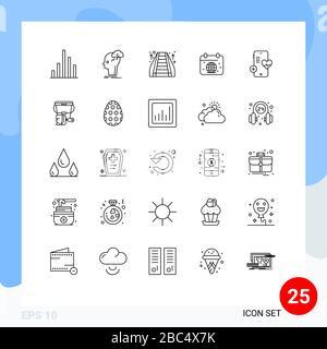 25-zeilige Konzeption für Websites Mobile and Apps Medical, Globe, Rolltreppe, Earth, Calender Editable Vector Design Elements - Stockfoto
