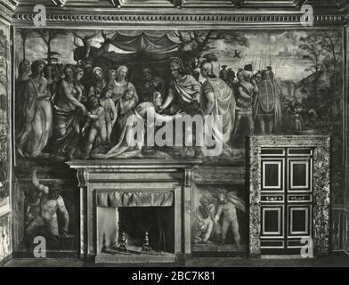 Familie Darius vor Alexander dem großen, Fresko des italienischen Künstlers Sodoma, Palast Farnesina, Rom, Italien 1920er Jahre - Stockfoto